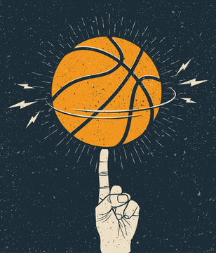 Rotating orange basketball ball on a finger. Basketball themed illustration template for poster or flyer or sticker. Vintage styled vector illustration.
