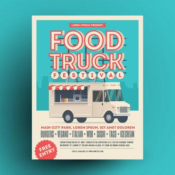 Food truck or street food festival poster or flyer design template. Vector illustration.