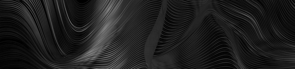 Black abstract tech banner with liquid curved glossy waves. Dark refraction vector background