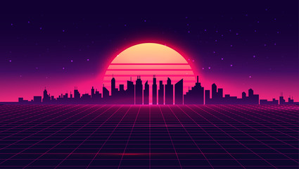 Retro futuristic synthwave retrowave styled night cityscape with sunset on background. Cover or banner template for retro wave music. Vector illustration. Fotomurales