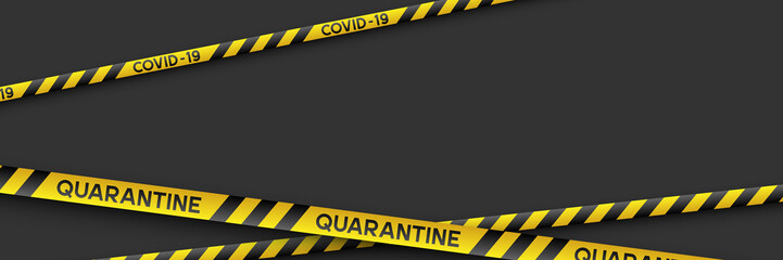 Warning coronavirus quarantine banner with yellow and black stripes. Black background with copy space. Quarantine biohazard sign. Vector.