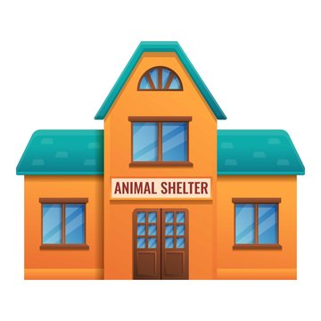 Animal shelter house icon. Cartoon of animal shelter house vector icon for web design isolated on white background