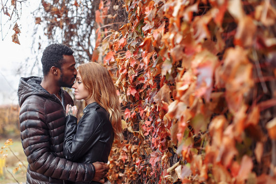 Interracial couple posing in autumn leaves background