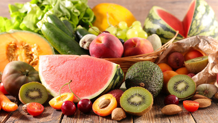 summer assorted of fruit and vegetable composition