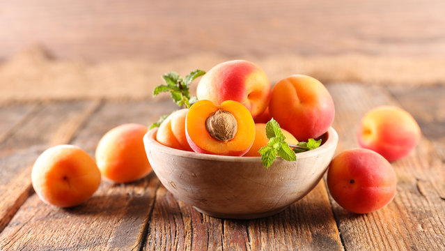 fresh apricot and leaf- summer fruit