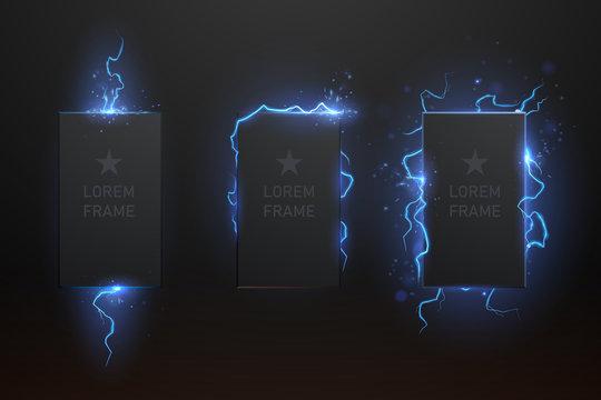 Lightning frame set on black background