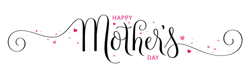 HAPPY MOTHER'S DAY black and pink vector brush calligraphy banner with hearts