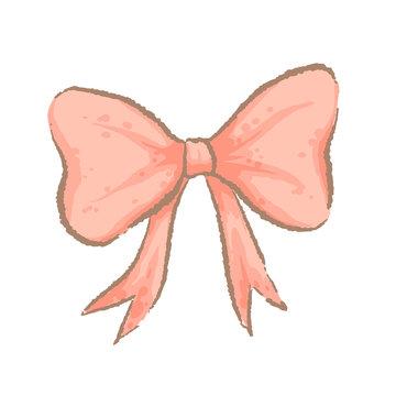 Cute pink bow. Imitation of watercolor handmade