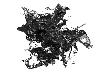 Abstract 3d render, black paint liquid splash on white background Fototapete