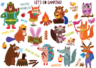 Big collection of cute camping animals in hand drawn style. Set of woodland animals characters isolated on white background.