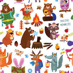 Camping seamless vector pattern with cartoon animals in the forest and camping equipment Design for textiles, textures, children's wallpaper, fabric, clothes.