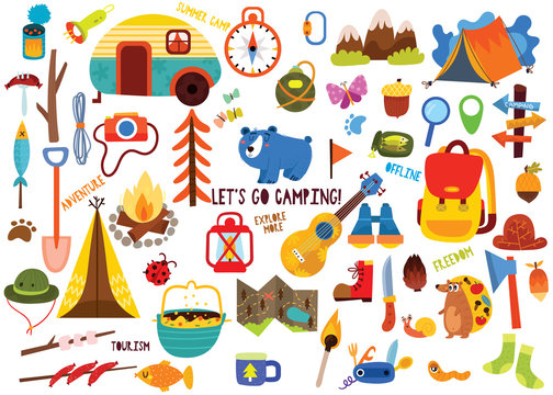 Big set of camping elements and cute animals in hand drawn style. Summer collection with camping equipment.