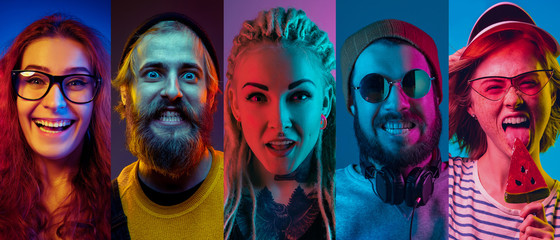 Collage of portraits of young emotional people on multicolored background in neon light. Concept of human emotions, facial expression, sales. Smiling, listen to music, happy. Flyer for ad, proposal. Wall mural