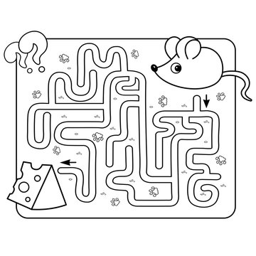 Maze or Labyrinth Game for Preschool Children. Puzzle. Tangled Road. Matching Game. Coloring Page Outline Of Cartoon mouse with cheese. Coloring book for kids.