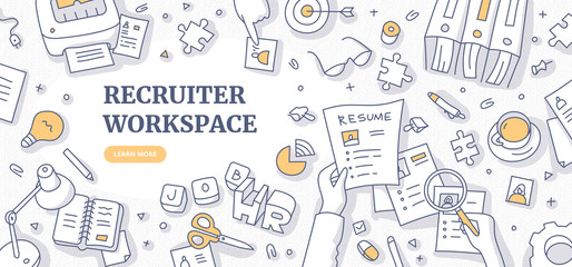 Recruiter Workspace Doodle Concept