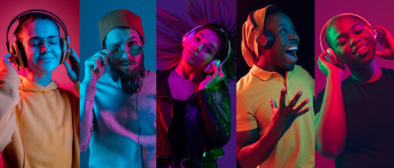 Collage of portraits of young emotional people on multicolored background in neon. Concept of human emotions, facial expression, sales. Smiling, listen to music with headphones. Flyer for ad, proposal Fotobehang