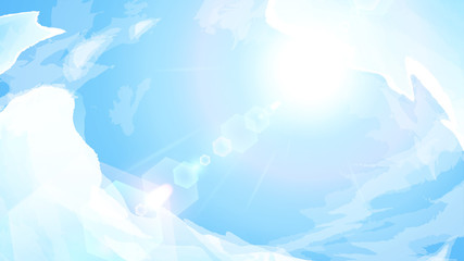 青空と太陽の背景イラスト_16:9