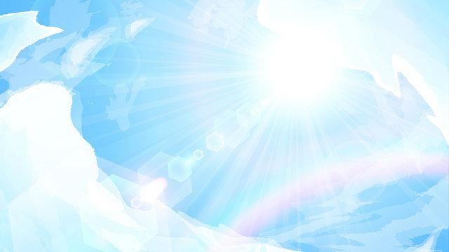 青空と太陽と虹の背景イラスト_16:9