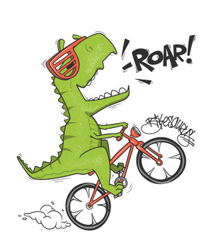 Dinosaur on bicycle. vector shirt print design