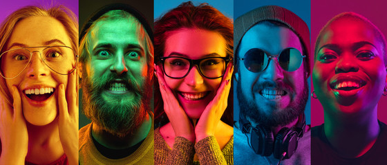 Obraz Collage of portraits of young emotional people on multicolored background in neon. Concept of human emotions, facial expression, sales. Smiling, listen to music with headphones. Flyer for ad, proposal - fototapety do salonu