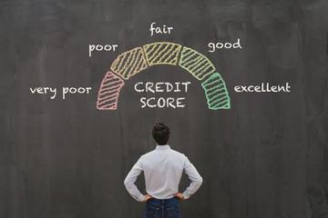 credit score concept, poor or excellent, loan in bank