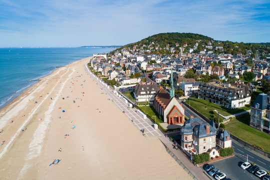 France, Normandy, Aerial view of Houlgate and its beach