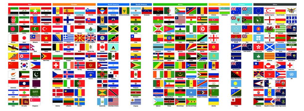世界の国旗 | World flags - アジア39ヶ国・ヨーロッパ41ヶ国・北アメリカ23ヶ国・南アメリカ12ヶ国・アフリカ54ヶ国・NIS12ヶ国・オセアニア16ヶ国・その他41 合計238種類