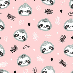 Cute Sloths. Little Baby Sloth Face and Tropical Leaves Floral Seamless Pattern. Kawaii Animal Heads Vector Childish Background for Kids Fashion Design. Print for Nursery Wallpaper, Baby Shower