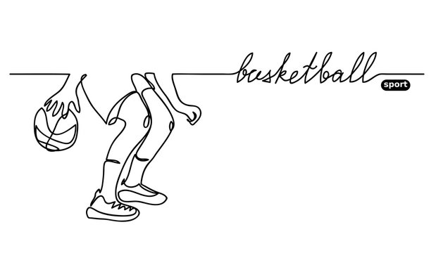 Basketball background simple vector sketch with lettering basketball sport.One continuous line drawing.