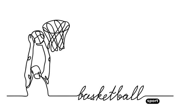 Basketball player banner, illustration. Minimalist vector doodle with lettering basketball sport. One continuous line drawing.