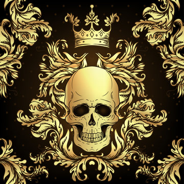 Baroque seamless ornament. Damask style pattern with skull. Vintage ornate vector design for wallpaper, wrapper, fashion textile.