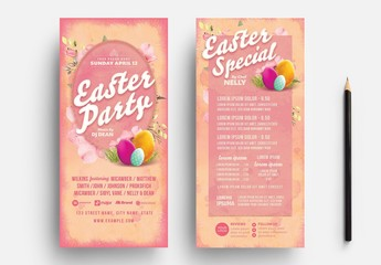 Pink Dl Easter Party Card Layout with Egg Illustrations
