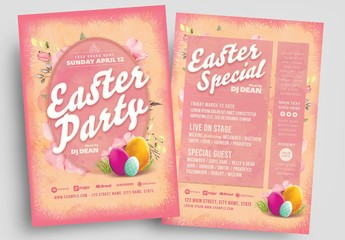 Pink Easter Party Flyer Layout with Egg Illustrations