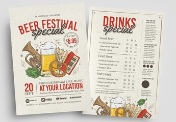 Beer Festival Flyer Layout with Beer and Musical Instrument Illustrations