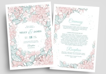 Wedding Invitation Layout with Line Art Floral Borders