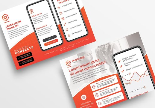 Bright Red and White Flyer Layout with Smartphone Illustrations