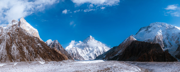 Panoramic view of K2, the second highest mountain in the world with surrounding mountains such as Crystal, Marble, Angel, Nera and Broad peak from Baltoro Glacier,  Concordia, Pakistan