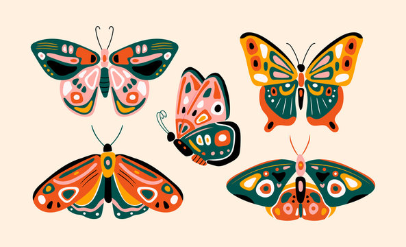 Hand drawn various beautiful Butterflies. Colorful Vector set. Top view. Side view. Pastel colors. Trendy illustration. All elements are isolated