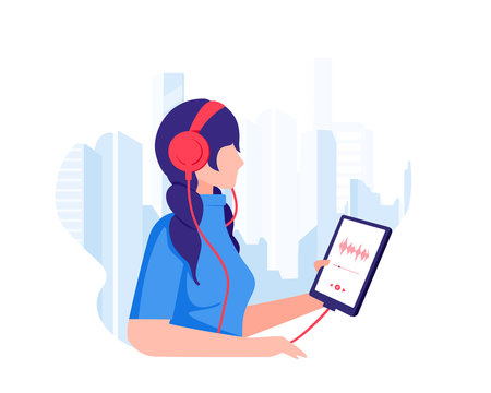 The girl walks through the metropolis and listens to music with headphones and holds a tablet with a playlist in her hands. Urban scene modern life. Listening to audiobooks. Flat design Vector eps10