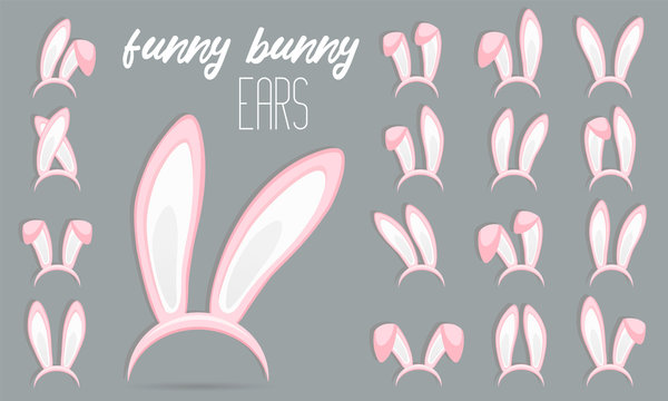 Easter Rabbit ears icons - big set. Collection of masks pink bunny ear on transparent background. Cute headband stickers. Vector illustration
