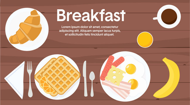 Vector Illustration of a Breakfast Table, with different breakfast items