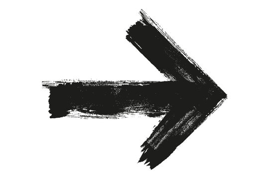 Grunge arrow vector. Brush paint black.