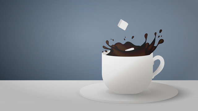 Realistic cup with splashes of coffee on a gray background. Sugar cubes fall from a cup of coffee. Vector illustration