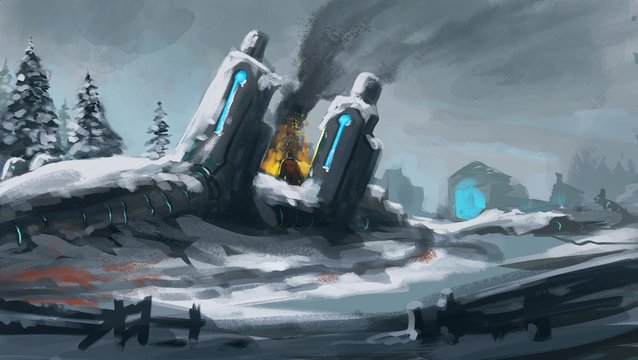 digital painting of a snowy sci-fi horror environment with a character committing a terrible act - digital science fiction illustration
