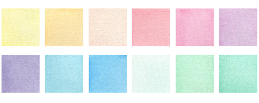 set of watercolor colorful squares isolated on white, pastel colored square design element for poster, invitation, frame or card