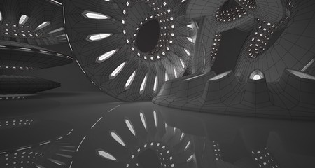 Abstract drawing architectural background. White interior with discs and neon lighting. 3D illustration and rendering.