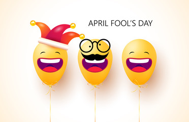 April fool's day. Happy face emoji balloons with jester hat and funny glasses. 1 April fools day. Celebration vector illustration for your design. Background design concept. Vector Illustration
