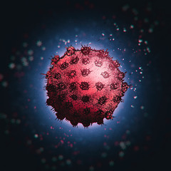 Illustration abstract art coronavirus covid-19 red and blue