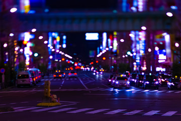 A night neon street at the downtown in Akihabara Tokyo long shot