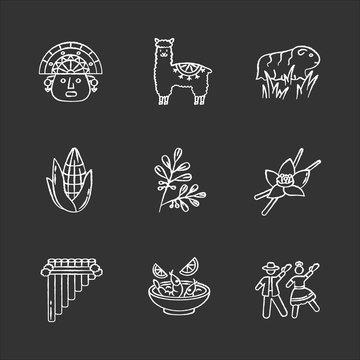Peru chalk white icons set on black background. Hispanic history, traditions, culture. Incas, alpaca, guinea pig, corn, coca, vanilla, ceviche, marinera. Isolated vector chalkboard illustrations